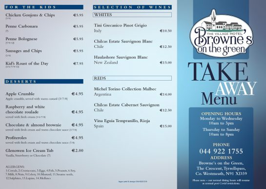 Brownes on the Green Take Away Menu 2021 Page 1