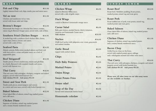 Take Away Menu Brownes on the Green Page 2